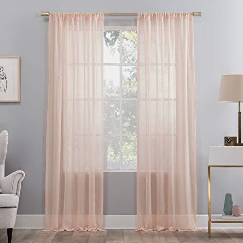 "No. 918 Genevieve 2-Pack Linen Weave Semi-Sheer Rod Pocket Curtain Panel Pair, 50"" x 84"", Blush Pink"