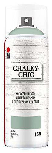 Marabu 02630018159 - Chalky Chic Spray, mistel 400 ml, deckende, matte Kreidesprühfarbe auf Wasserbasis, für samtweiche Oberfläche auf Holz, Metall und Kunststoff, Used Look durch Anschleifen