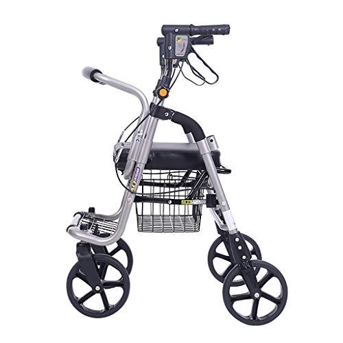 GWXTC Faltbarer Bollerwagen Alter Mann Klappwagen, Lebensmitteleinkaufswagen 4 Räder Portable kann sitzen Gehhilfe Ruhesitz Leichtgewichtiger Rollstuhl, Belastung: 100 kg