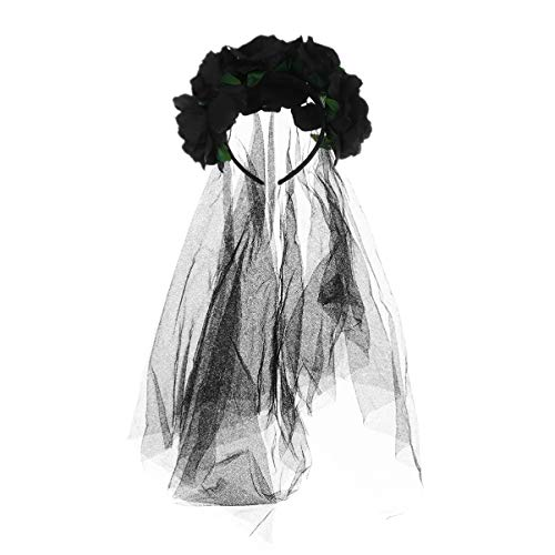 Lurrose rosa flor corona velo corona de cabello diadema floral disfraz de halloween tocado mexicano accesorios para el cabello para mujeres niñas negro
