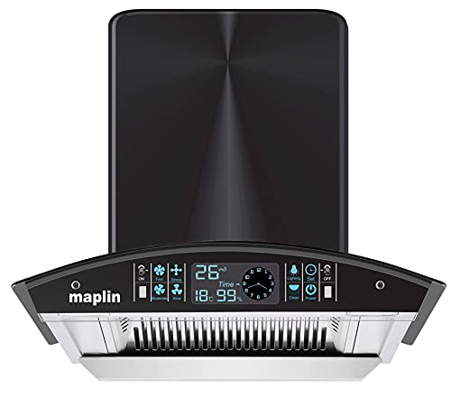 Maplin Filterless Kitchen Chimney SS-60 in 60 cm (Silver) with Features Auto Clean, LPG Sensor, Wave Sensor
