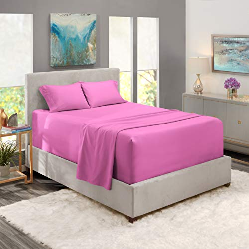 Extra Deep Pocket Fitted Sheet - 4 Piece Sheet Set – Super Deep Pocket - Ultra Deep pocket Sheets - Deep Fitted Sheets Set - 54 x 75 inches - Extra Deep Pocket Full Size Sheet – Radiant Orchid Purple
