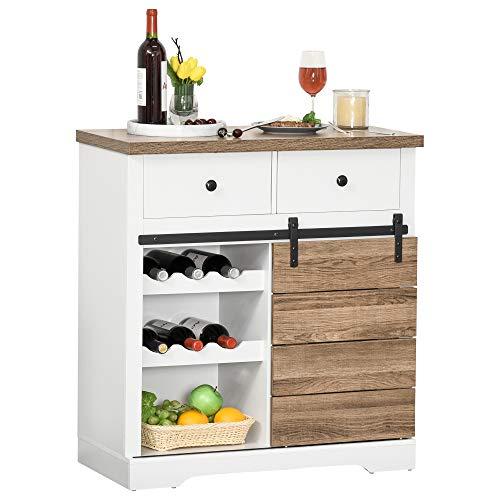 HOMCOM Küchenschrank Sideboard mit 2 Schubladen Weinregale Schiebetür Kommode verstellbaren Ablagen Aufbewahrungsschrank rustikal Weiß 80 x 39 x 86 cm
