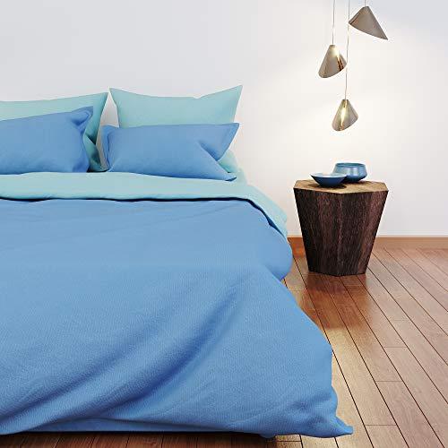 Dreamzie - Bettwäsche 200x200cm - Wendebettwäsche 100% Baumwolle Oeko TEX - Blau + Türkis - Bettdeckenbezug und 2 Kissenbezüge 80x80 cm