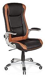 hjh OFFICE 621770 Gaming PC Stuhl RACER COMPACT Kunstleder Schwarz/Braun XXL Chefsessel mit breiter Sitzfläche