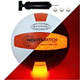 NIGHTMATCH Ballon de Volley-Ball Lumineux, Pompe à Ballons et Batteries de Rechange Incluse - Illuminé de l'intérieur par Une Brillante LED Lorsque Qu'on Le Frappe - Lumière de Nuit Ballon