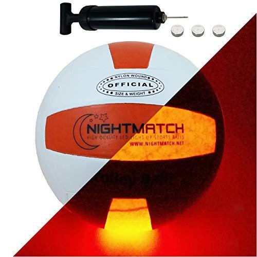 NIGHTMATCH LED Leuchtvolleyball - Offizielle Größe 5 - Komplettset - 2 Sensor aktivierte LED's für Spaß im Dunkeln - Ideal für Klein & Groß - Volleyball Leuchtend, leuchtender Ball, Leuchtend