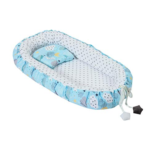 Baby Boys Baby Lounger, Blue Clouds&Stars Baby Nest Sharing Co Sleeping Baby Bassinet Breathable & Hypoallergenic Portable Crib Newborn Baby Nest Machine Washable