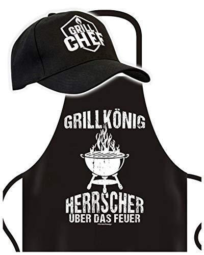 Schürze mit Cap - Grillkönig - Grillschürze mit Basket-Kappe - Lustiger Spruch - Grill Set für die nächste Gartenparty