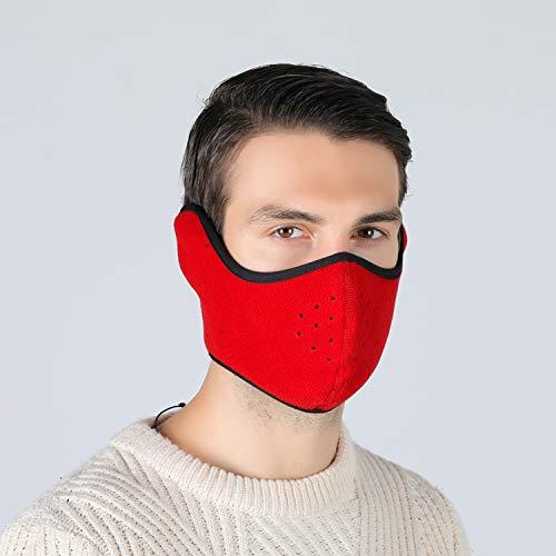 Tweal Invierno Protección Caliente Máscara Anti-frío de Invierno Calentador Máscara para Esquí Bicicleta Ciclismo Motocicleta,Rojo(Cálido Unisex)