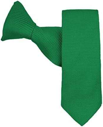 Jacob Alexander Boys Woven Subtle Mini Squares 14 inch Clip On Neck Tie Dark Kelly Green product image