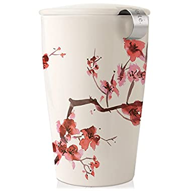 Tea Forte KATI Single Cup Loose Tea Brewing System, Ceramic Cup with Tea Infuser and Lid, Cherry Blossoms - New Infuser Design