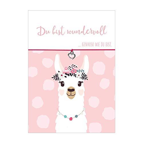 Glücksschmiedin Armband Du bist wundervoll mit Herz Anhänger, elastischen Textilband in pink und liebevoller Karte mit Lama: Du bist wundervoll genauso wie du bist