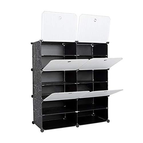 Zapatero DIY - Sistema de estantería para ropa, zapatos, juguetes y libros, versátil armario de plástico, armario modular para ahorrar espacio, organizador de 6 cubos