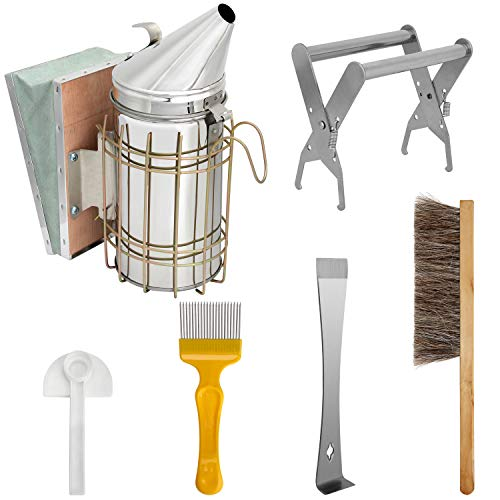 Blisstime Beekeeping Tool Kit Set of 6 Bee Hive Smoker,Bee Brsuh Beekeeping Accessory -Bee Keeping Tool
