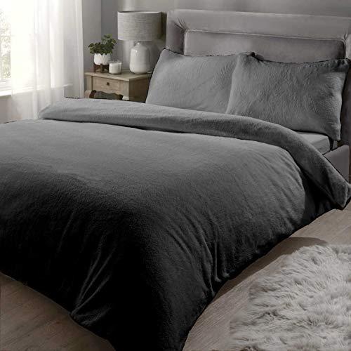 Rapport Teddy Bear Luxurious Super Soft Warm Quilt Duvet Cover Bed Set, Charcoal, Double