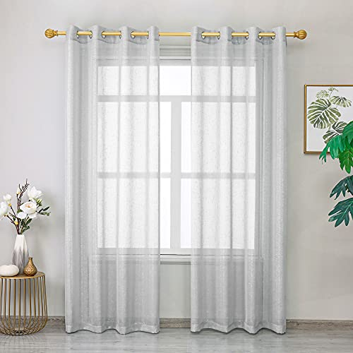 """Roy Lei Gray Sheer Curtains Voile Light Filtering Grommet Voile Drapes Curtains for Bedroom & Living Room,Set of 2 Panels Shimmer and Light (Gray-Silver, 52""""x63"""")"""
