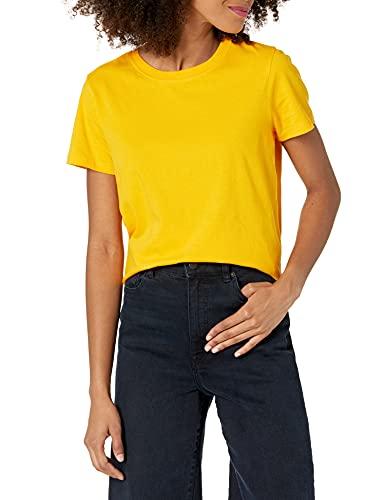 The Drop Courtney Camiseta Pequeña de Manga Corta de Punto con Cuello Redondo T-Shirt Mujer