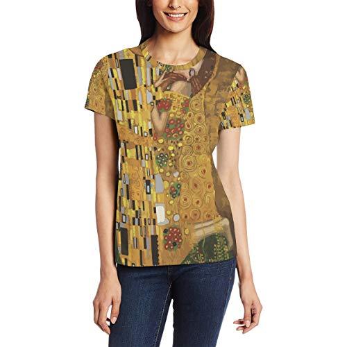 Gustav Klimt Kisses vrouwen casual T-shirt korte mouw tuniek tops ronde hals blouse Comfy