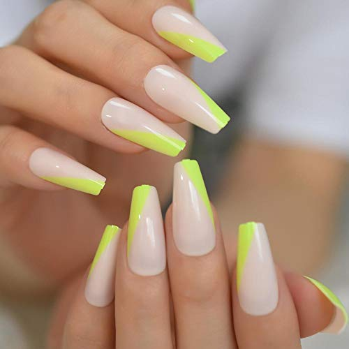 CSCH Faux ongles Neon Green French Press on False Nails Extra Long Coffin Ballerina Shape UV Gel Nude Lignt Pink Fingersnails Free Adhesive Tapes