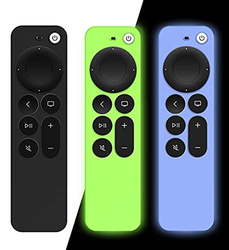 AIYAAIYA 3 PCS Funda de Silicona para Control Remoto Apple TV 4K 2021, Funda Protectora de a Prueba de Golpes para Mando a Distancia Siri 6nd Gen con Cuerda Antipérdida (Glow Azul+Glow Verde+Negro)