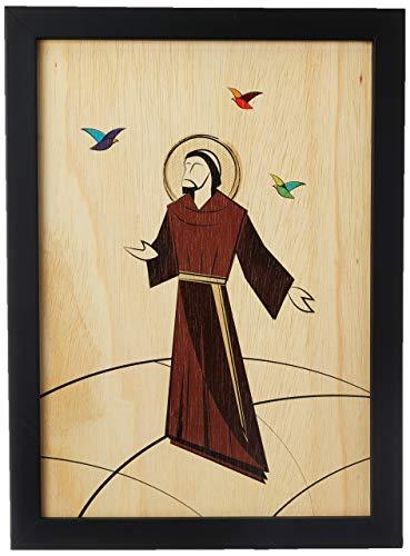 Arte Maníacos Quadro Decorativo em Madeira São Francisco de Assis - 32,5x23cm (Moldura caixa em laca preta)