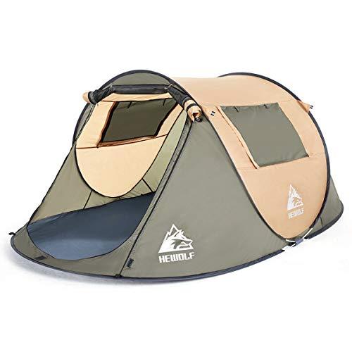 テント ワンタッチ キャンプテント ポップアップ 2人用-4人用 大空間 軽量 防水 通気性 UVカット 防風 アウ...