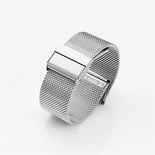 ZXF Correa Reloj, 12/14 / 16/19 / 20 / 22mm Watch Band Metal Mesh Steel Steel Watch Band Ladies Men's Watch Band Band Band Band Pulsera (Band Color : Silver, Band Width : 20mm)