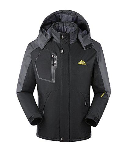 T-Dream Men's Waterproof Windproof Fleece Ski Jacket Winter Outdoor Coat XX-Large Black