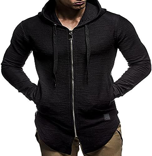 JXH Sudadera de manga larga con capucha y bolsillo Kanga, para hombre, con capucha y bolsillo frontal, color negro 3XL