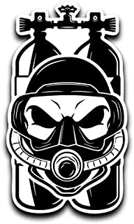 Scuba Tank Mask Skull Vinyl Decal Sticker Car Truck Van SUV Window Wall Cup Laptop - Two 3 Inch Decals - MKS0640