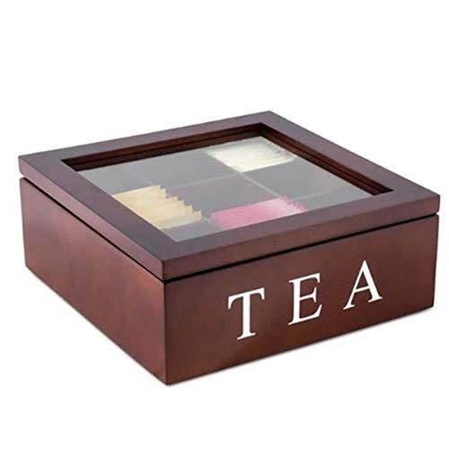 Fhdpeebu HHLzerne - Caja de té con 9 rejillas y tapa transparente, color rojo y vino