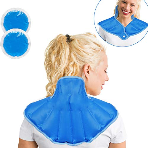 Neck Shoulder Ice Pack Reusable Cold Compress Wrap for Back Pain Relief with 2 Piece Cold Pack for Injuries Swelling Bruises and Sprains Blue