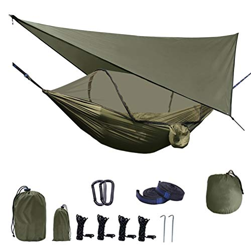Katyx Camping Hammock Bundle Set with Mosquito Net Rain Fly Tarp Lightweight Portable Set for Hiking Backpacking Travel Large Size Outdoor