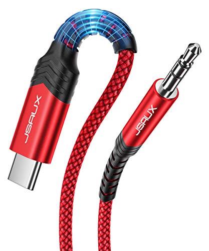 JSAUX Cable USB C a Auxiliares 1M Cable USB C a Jack 3.5mm,Adaptador de Auriculares Auxiliares para Coche para Samsung 20,Samsung Galaxy Note10,Huawei P30 P20 Mate 20 30-Rojo