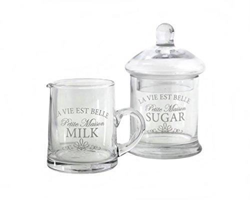 Set aus Milchkännchen und Zuckerdose, Vintage-Stil, Retro-Design