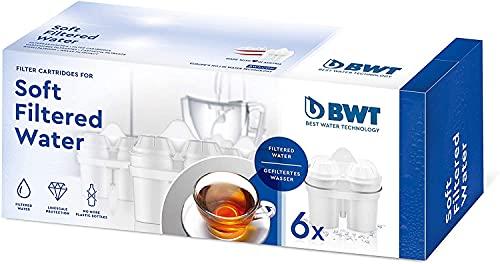 BWT 814561 Soft Filtered Water-Pack Economico di 6 acque morbide per caraffe filtri, filtri compatibili con altri sistemi di filtraggio ovali, plastica