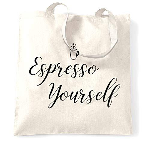 Tim and Ted Nouveauté Café Slogan Sac à Main Logo Yourself Expresso White One Size