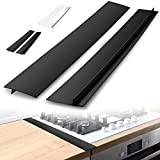 Zulay Kitchen 2-Pack Stove Guard Stove Top Protector - 21 Inch Heat-Resistant Stove Gap Cover Between Stove and Counter - Silicone Stove Counter Gap Cover, Stove Gap Filler & Stove Protector (Black)