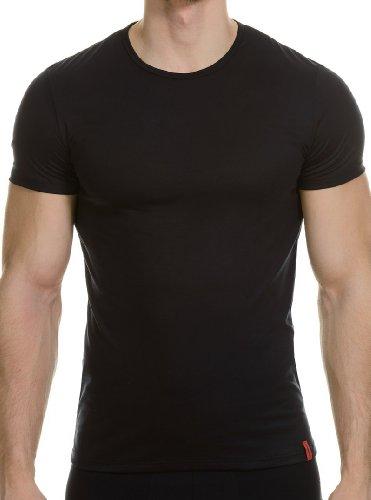 Bruno Banani Herren T-Shirt Shirt Base Line, Einfarbig, Gr. Medium (Herstellergröße: 5), Schwarz