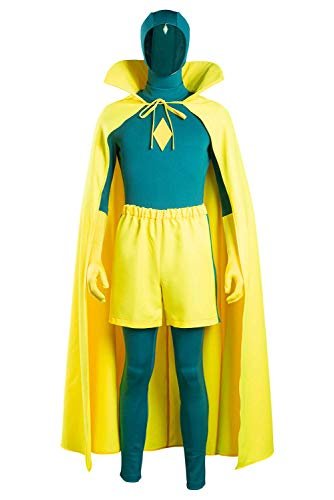 Mens Vision Costume Cloak Jumpsuit Halloween Cosplay Outfit Battle Suit 3XL