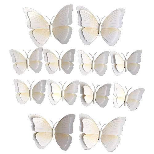 DierCosy Simulación de la Mariposa Adorno de 12pzas de PVC Blanco 3D de la Mariposa Cortina Decoración Clip en Accesorios de Bricolaje