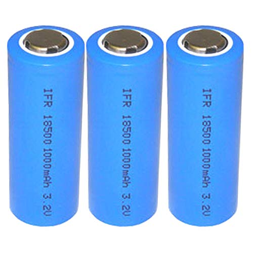 (3-PACK) Exell Battery 3.2V 1000mAh LiFePO4 Size 18500 (18 x 46.9mm) Rechargeable Solar Batteries For RC Toys, Security Keypads, LED Flashlights, Garden Lights