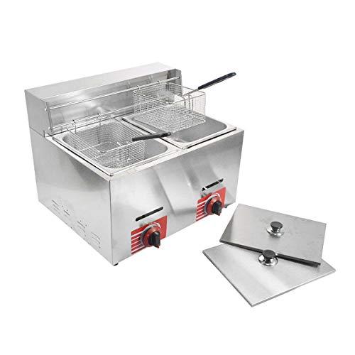 Commercial Countertop Gas Fryer Deep Fryer LPG 2 Basket 10L2