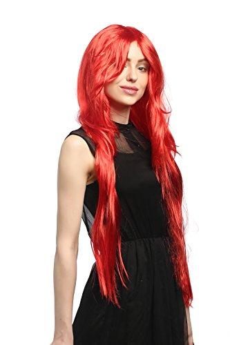 WIG ME UP- 91126-ZA13 Peluca Carnaval señoras, Rojo Fuego Liso graduada Raya Muy Largo 85cm
