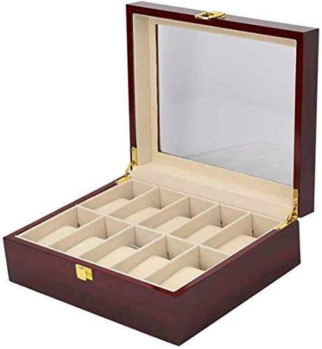 T.T-Q Caja de Reloj de 10 dígitos Cajas para Relojes Caja de joyería de Madera Transparente con Ventana para Almacenamiento y visualización 26 * 21 * 9cm