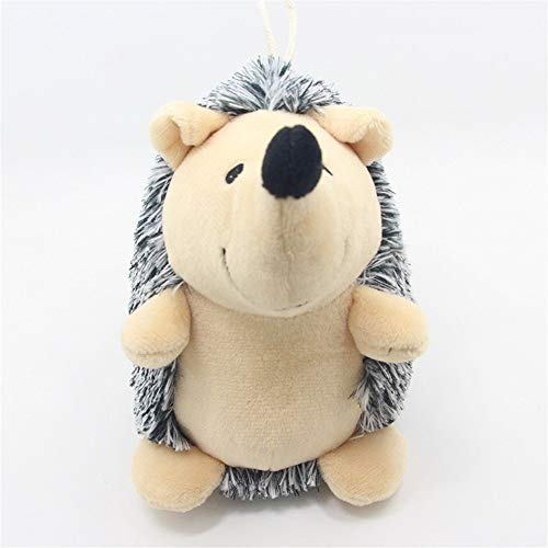 Kalmerende Bed Plush Hedgehog Hondenspeelgoed Lovely Puppy Chew Pluchen Speelgoed Cartoon Dog Tag (Color : Black, Size : S)