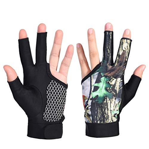 Exceart 1 Pair Billiards Gloves Snooker Gloves Cue Gloves Elastic 3 Finger Gloves for Sports Camouflage Size M