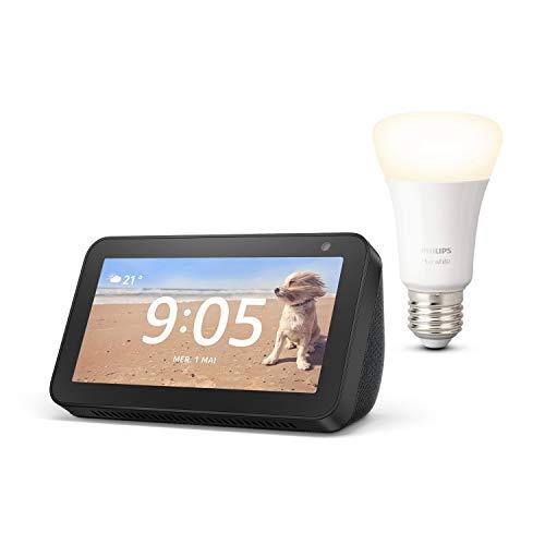 Echo Show 5, Noir + Philips Hue Ampoule Connectée White (E27), compatible avec Bluetooth et Zigbee (aucun hub requis)
