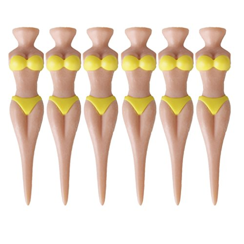 Perfeclan Golf Tees Bikini Girl Woman Lady 78mm (3 Pouces) Pin-up Girl Golf Tee, Home Golf Training Golf Accessories Pack of 6 - Jaune, Tallie Unique